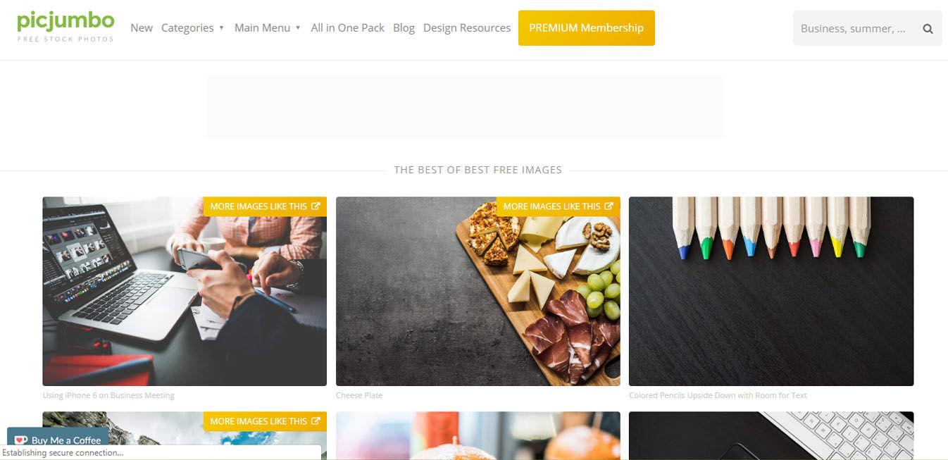 صفحه اصلی سایت PicJumbo
